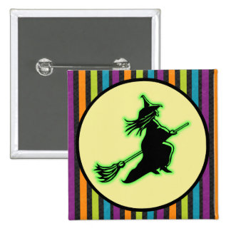 Flying Halloween Witch 15 Cm Square Badge