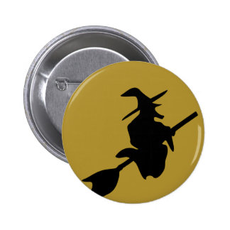 flying halloween witch pin