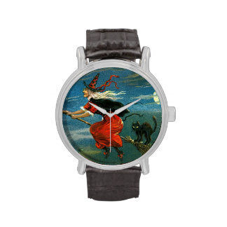 Flying Halloween Witch with Cat Wrist Watches