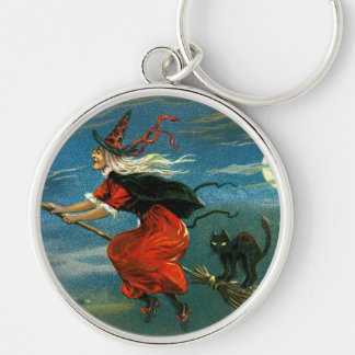 Flying Halloween Witch with Cat Key Chains