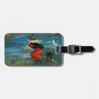 Flying Halloween Witch with Cat Bag Tags