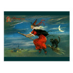 Flying Halloween Witch with Cat Post Cards