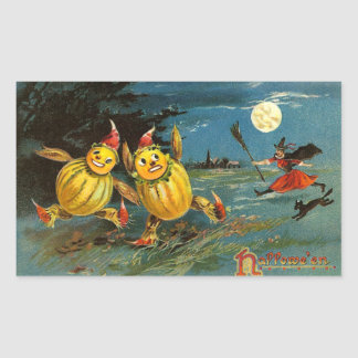 Flying Halloween Witch with Cat Rectangular Sticker