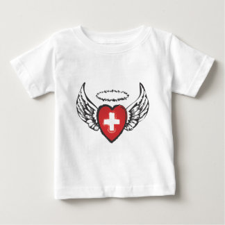 flying heart cross.ai baby T-Shirt