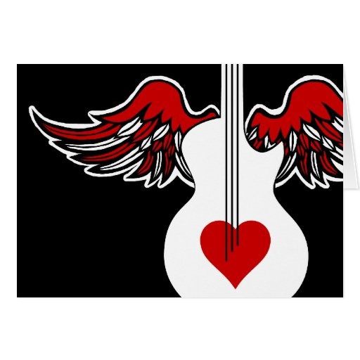 Flying Heart Guitar Card