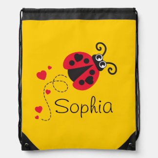 Flying heart ladybug kids named drawstring bag