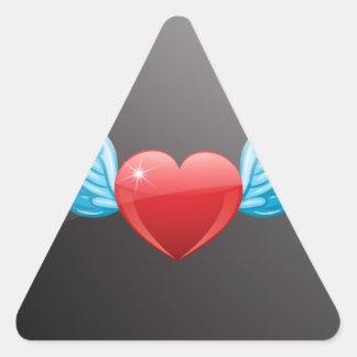 Flying heart triangle sticker