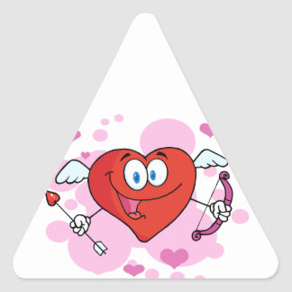 Flying Heart with Bow and Arrow Triangle Stickers