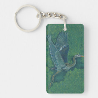 Flying Heron Single-Sided Rectangular Acrylic Key Ring