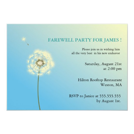 Flying High - farewell party invitations