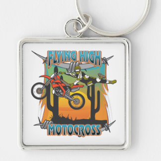 Flying High Motocross Silver-Colored Square Key Ring