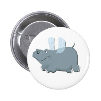 Flying Hippo 6 Cm Round Badge
