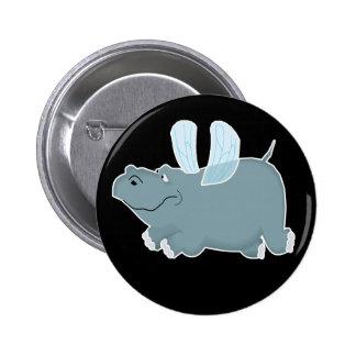 Flying Hippo 6 Cm Round Badge