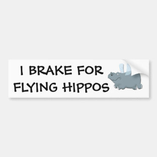 Flying Hippo Bumper Sticker