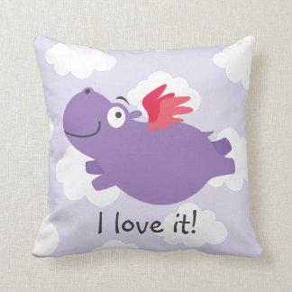 Flying Hippo Illustration Cushion