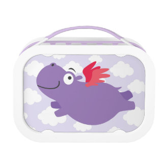 Flying Hippo Illustration Lunch Box