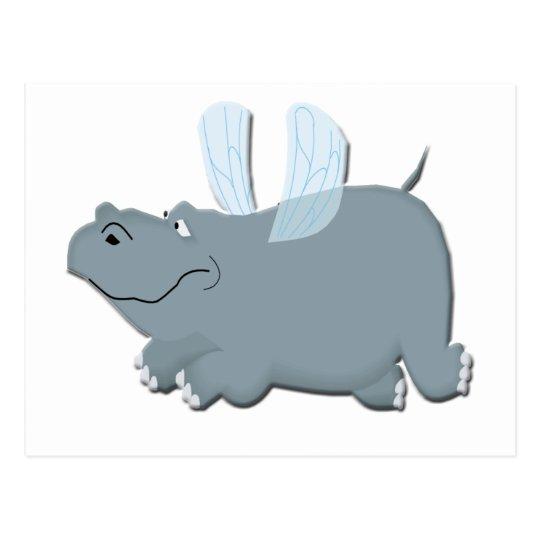 Flying Hippo Postcard