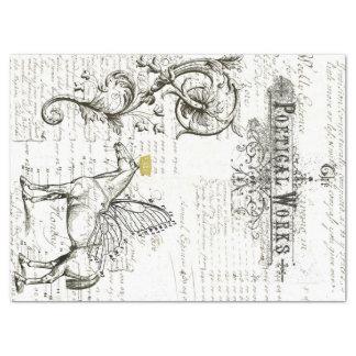 Flying Horse Script Digital Collage Tissue Paper
