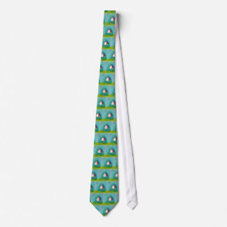 Flying house traveling home fun colorful happy art tie