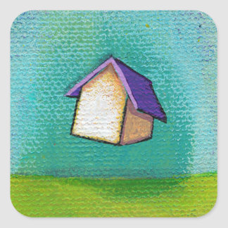 Flying house travelling home fun colourful happy a stickers