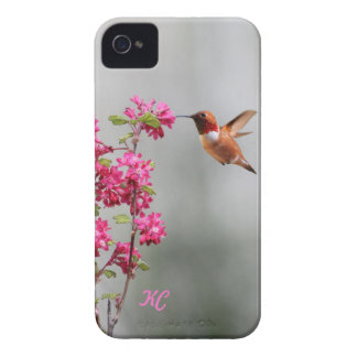 Flying Hummingbird and Flowers iPhone 4 Case