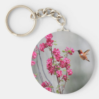 Flying Hummingbird and Flowers Basic Round Button Key Ring