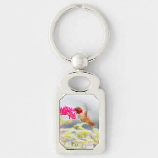 Flying Hummingbird and Flowers Silver-Colored Rectangle Key Ring