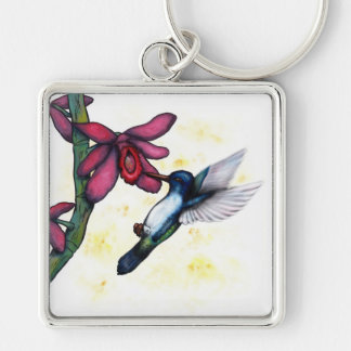 flying hummingbird and orchid key ring