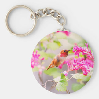 Flying Hummingbird and Red Currant Flowers Basic Round Button Key Ring