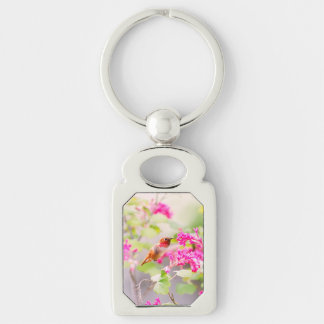 Flying Hummingbird and Red Currant Flowers Silver-Colored Rectangle Key Ring