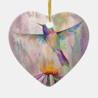 Flying Hummingbird Ceramic Heart Decoration