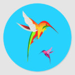 Flying Hummingbirds Round Sticker