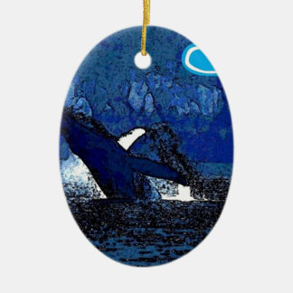 Flying Humpback Whale with heart gifts Christmas Ornament