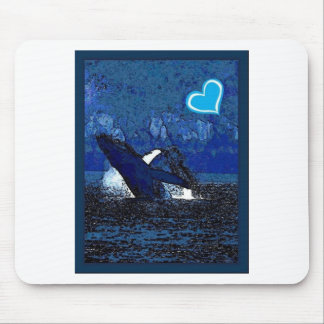 Flying Humpback Whale with heart gifts Mouse Pad