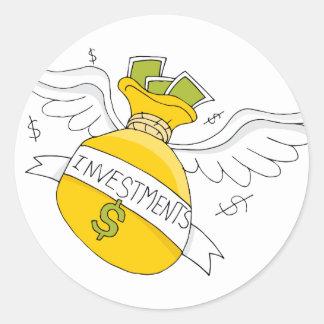 Flying Investment Bag Round Sticker