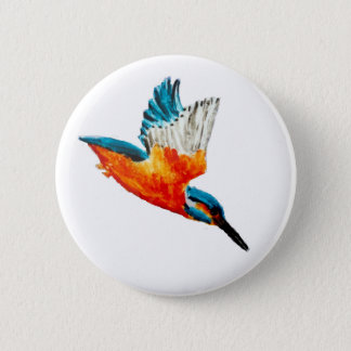Flying Kingfisher Art 6 Cm Round Badge