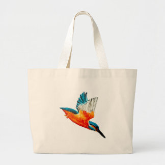 Flying Kingfisher Art Large Tote Bag