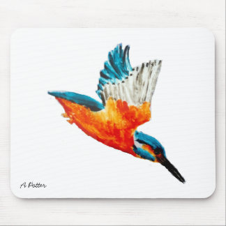 Flying Kingfisher Art Mouse Pad
