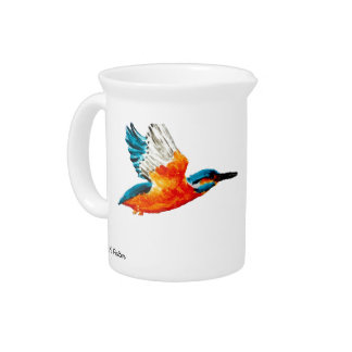 Flying Kingfisher Art Pitcher