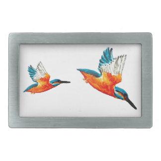 Flying Kingfisher Art Rectangular Belt Buckles