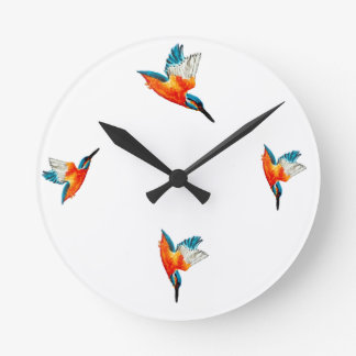 Flying Kingfisher Art Round Clock
