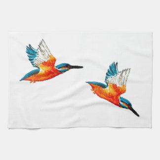 Flying Kingfisher Art Tea Towel