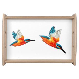 Flying Kingfisher Bird Art Serving Tray