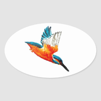 Flying Kingfisher Oval Sticker