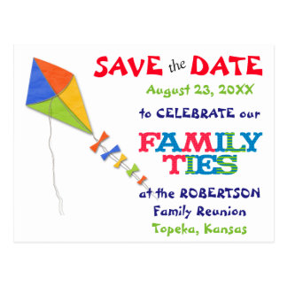 Flying Kite Family Reunion Save the Date Postcard