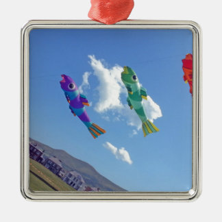 Flying Kites Silver-Colored Square Decoration