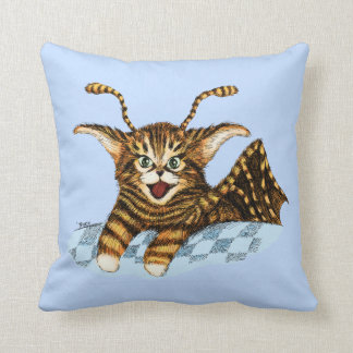 Flying Kitten Throw Pillow