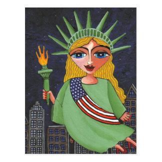 Flying Lady Liberty - postcard