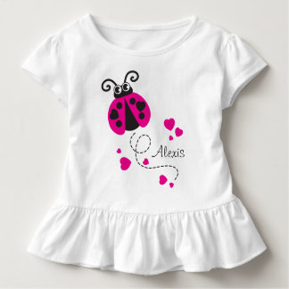 Flying ladybug hearts pink name t-shirt