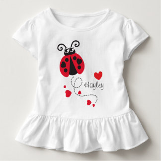 Flying ladybug hearts red name t-shirt